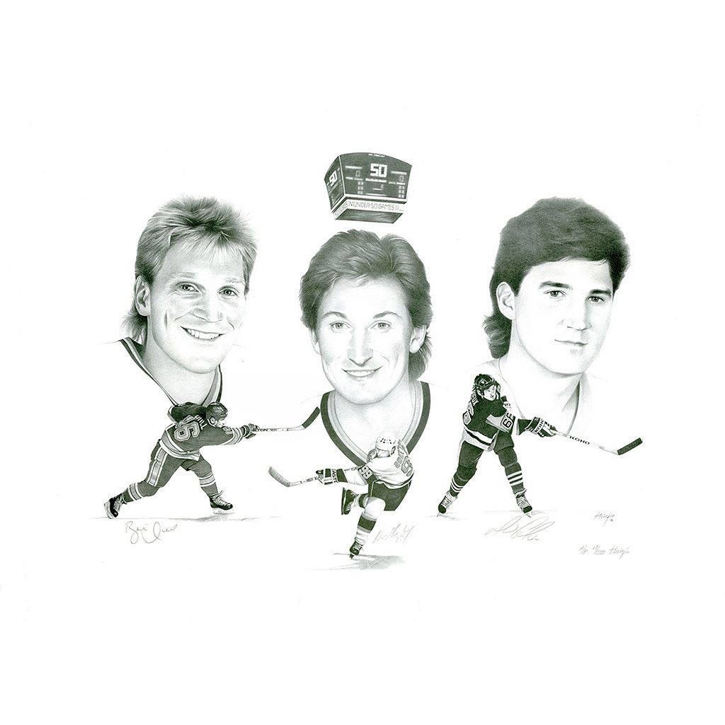 Steiner Sports Wayne Gretzky, Brett Hull & Mario Lemieux Signed Lithograph Picture