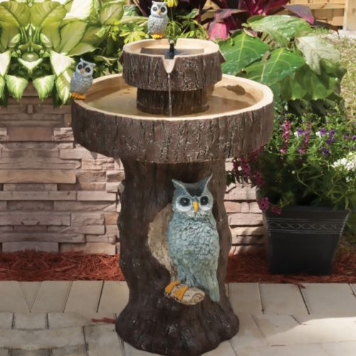 Smart Solar Owl 2-Tier On-Demand Solar Fountain