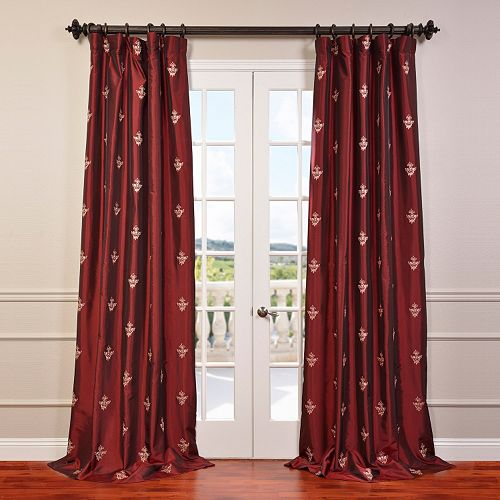 EFF 1-Panel Trophy Embroidered Faux Silk Taffeta Window Curtain