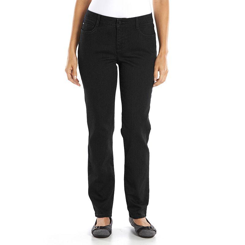 Women's Croft & Barrow® Classic Slimming Straight-Leg Jeans, Size: 4 Short, Black
