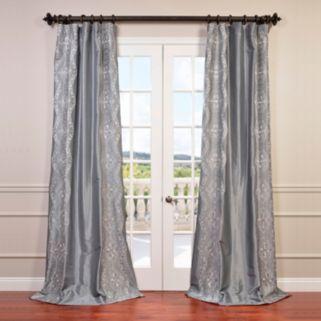 EFF Chai Silver Embroidered Faux Silk Taffeta Window Curtain