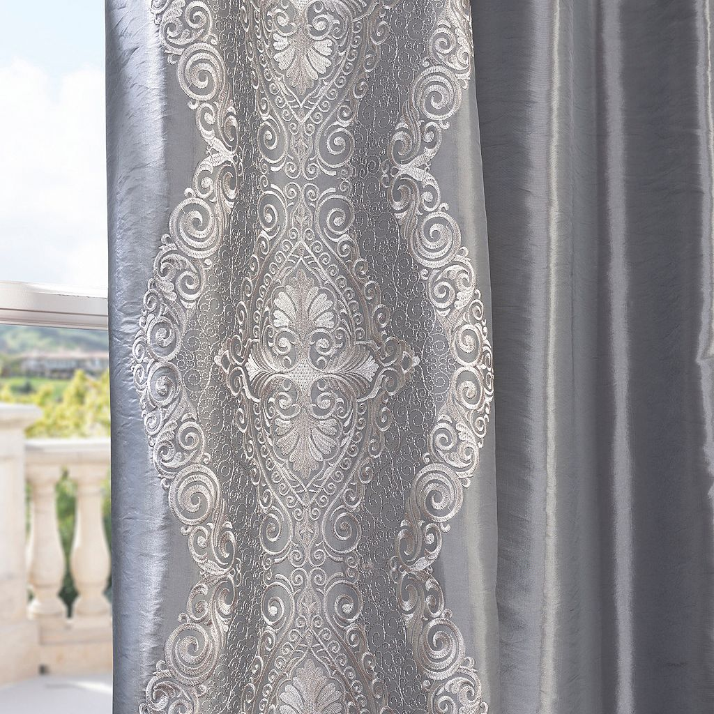 EFF Chai Silver Embroidered Faux Silk Taffeta Curtain