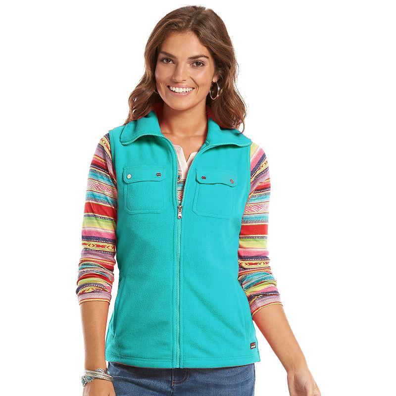 Petite Chaps Solid Full-Zip Polar Fleece Vest