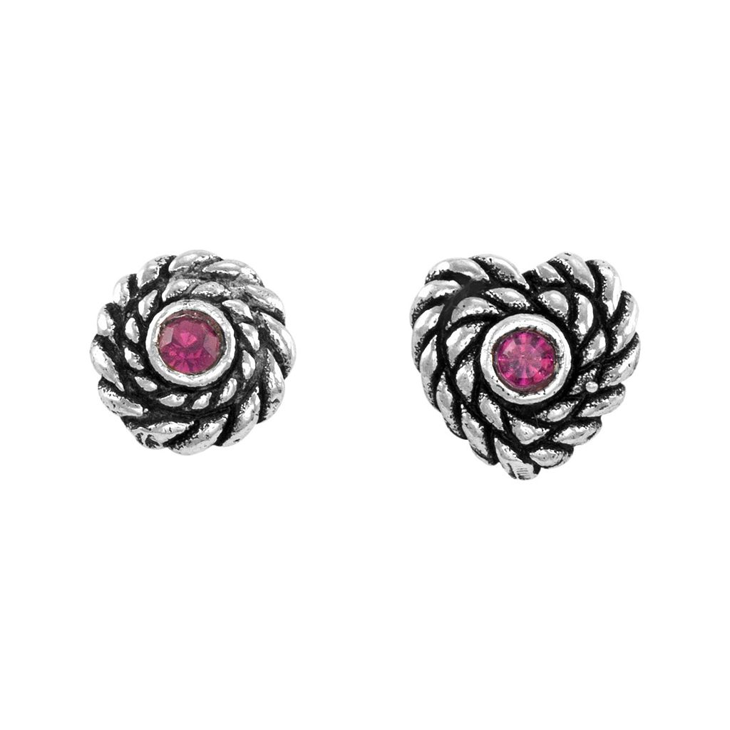 Itsy Bitsy Crystal Sterling Silver Heart & Circle Mismatch Stud Earrings