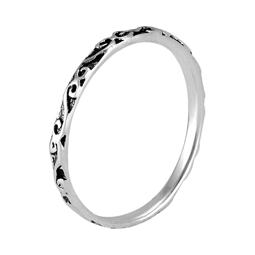 Itsy Bitsy Sterling Silver Antiqued Scrollwork Midi Ring