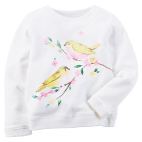 Girls 4-8 Carter's Birds French Terry Pullover Top