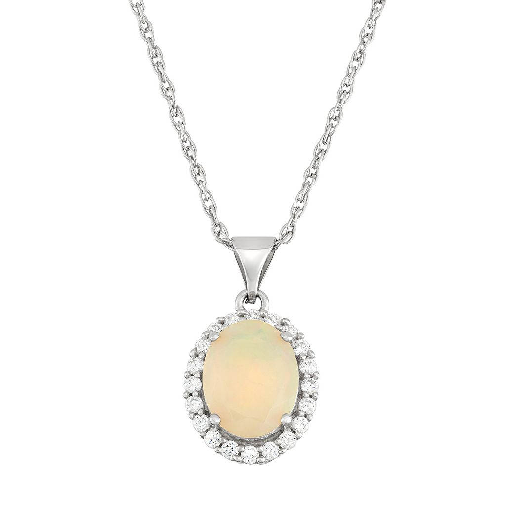 Sterling Silver Ethiopian Opal & Cubic Zirconia Oval Halo Pendant