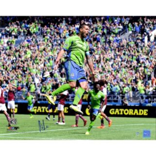 """Steiner Sports Seattle Sounders Clint Dempsey Celebration Signed 16"""" x 20"""" Photo"""