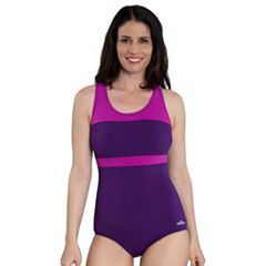 Women's Dolfin Aquashape Conservative Colorblock One-Piece Lap Swimsuit