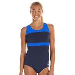 Women's Dolfin Aquashape Conservative Colorblock One-Piece Lap Swimsuit