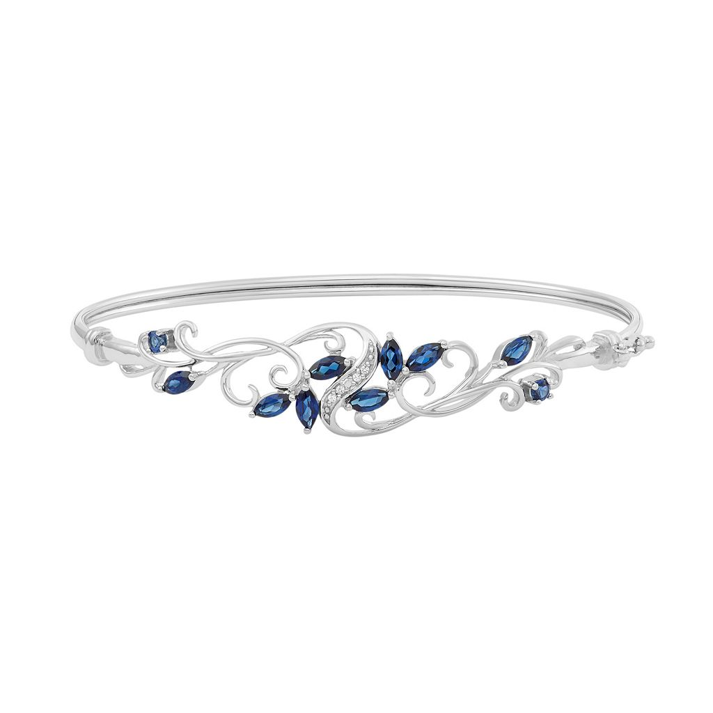 Sterling Silver Lab-Created Blue & White Sapphire Filigree Bangle Bracelet