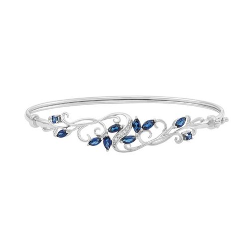 Sterling Silver Lab-Created Blue & White Sapphire Filigree Bangle Bracelet