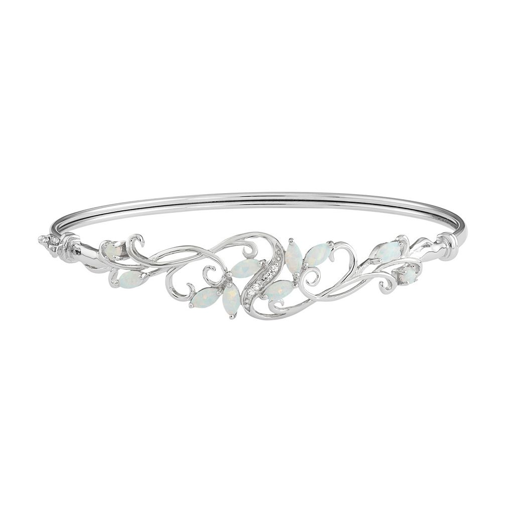 Sterling Silver Lab-Created Opal & Lab-Created White Sapphire Filigree Bangle Bracelet