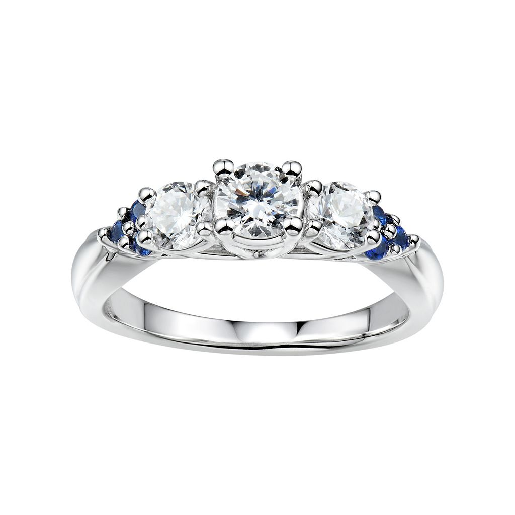 DiamonLuxe1 1/8 Carat T.W. Simulated Diamond & Lab-Created Sapphire Sterling Silver 3-Stone Ring