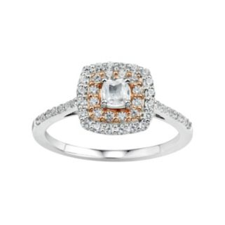 DiamonLuxe Sterling Silver & 14k Rose Gold Over Silver 1/3 Carat T.W. Simulated Diamond Halo Ring
