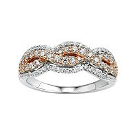 DiamonLuxe Sterling Silver & 14k Rose Gold Over Silver 1 1/5 Carat T.W. Simulated Diamond Woven Ring