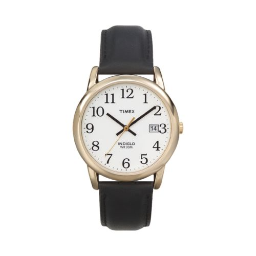 Timex Easy Reader Gold Tone Leather Watch - T2H2919J - Men
