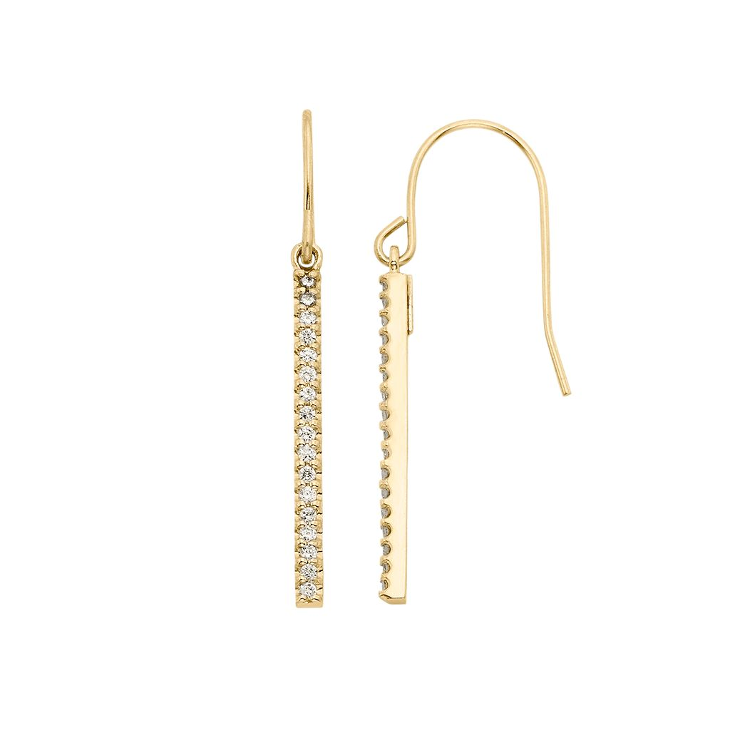 1/4 Carat T.W. Diamond 10k Gold Over Silver Stick Drop Earrings