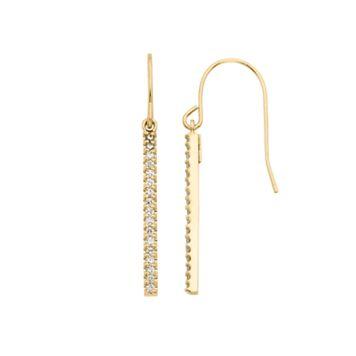 1/4 Carat T.W. Diamond 10k Gold Over Silver Stick Drop Earrings