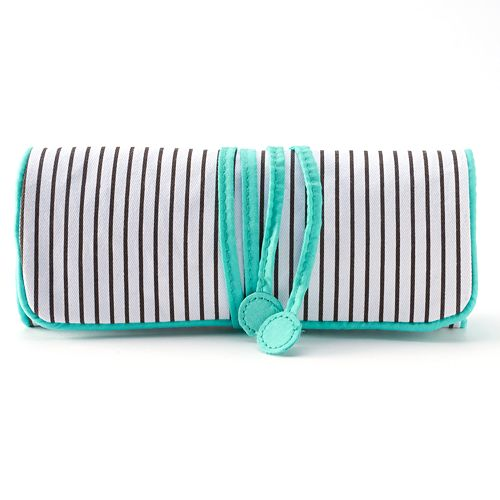 Striped Roll-Up Travel Jewelry Case