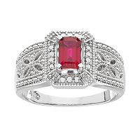Lab-Created Ruby & Diamond Accent Ring