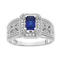 Lab-Created Sapphire & Diamond Accent Ring