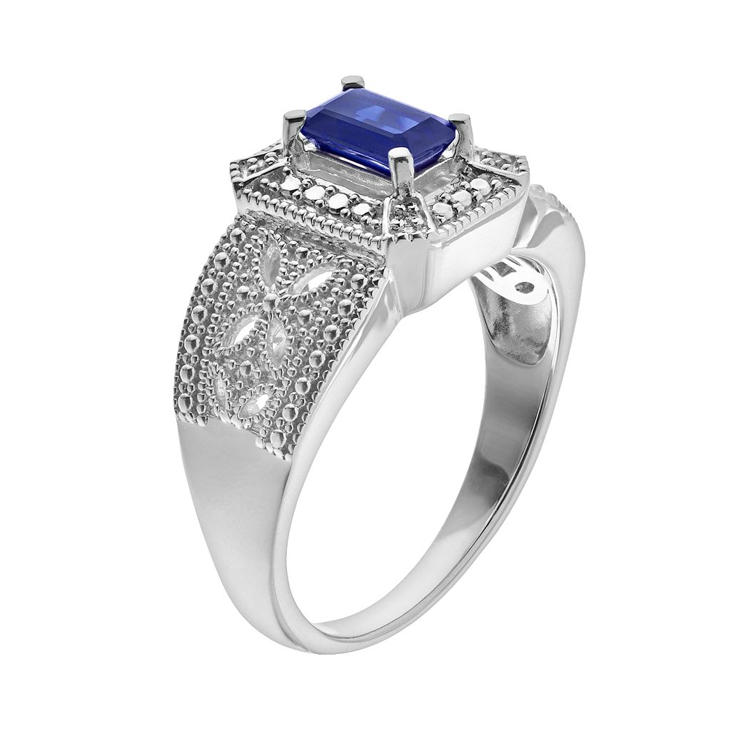Lab-Created Sapphire & Diamond Accent Ring