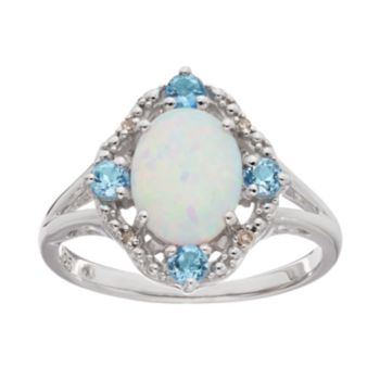 Lab-Created Opal, Blue Topaz & Diamond Accent Ring