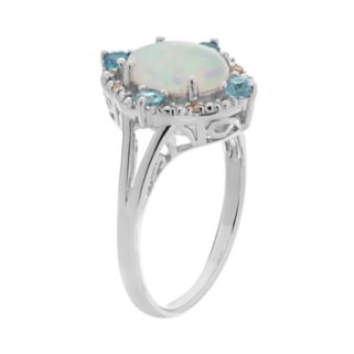 Lab-Created Opal, Blue Topaz & Diamond Accent Ring