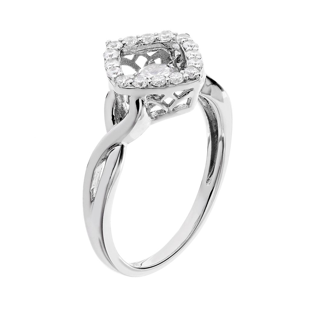 Floating DiamonLuxe 5/8 Carat T.W. Simulated Diamond Sterling Silver Square Ring
