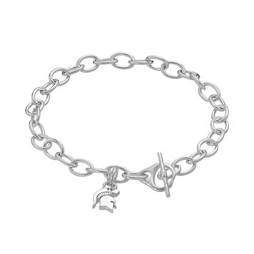 Dayna USterling Silver Michigan State Spartans Charm Toggle Bracelet