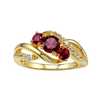 Lab-Created Ruby & Lab-Created White Sapphire 14k Gold-Plated Silver 3-Stone Bypass Ring