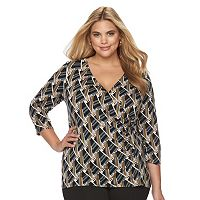 Plus Size Dana Buchman Faux-Wrap Top