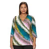 Plus Size Dana Buchman Faux-Wrap Top