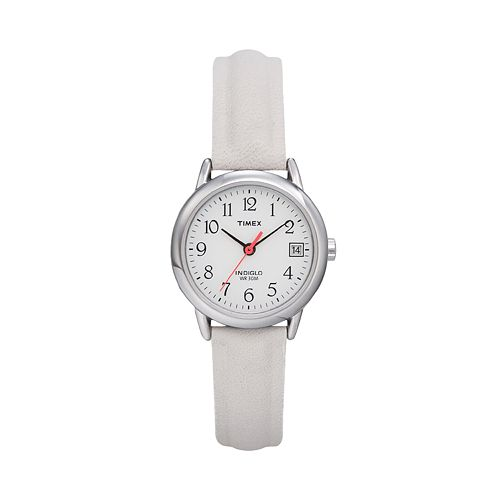 Timex White-Leather Band Watch