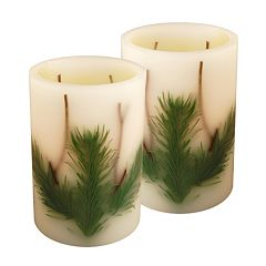 LumaBase Luminarias 2-Piece Pine Needle Flameless LED Timer Candle Set