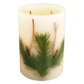 LumaBase Luminarias 2-Piece Pine Needle Flameless LED Timer Candle Set