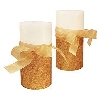 LumaBase Luminarias 2-Piece Bow Flameless LED Candle Set