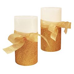 LumaBase Luminarias 2 pc Bow Flameless LED Candle Set