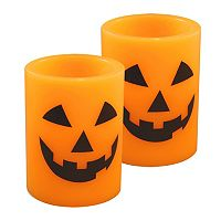LumaBase Luminarias 2 pc Flameless Jack O' Lantern Timer Candle Set