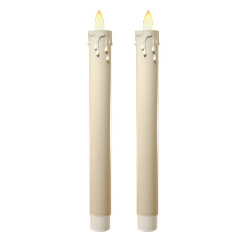 LumaBase Luminarias 2-piece Action Flame LED Taper Candle Set