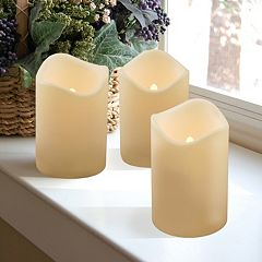LumaBase Luminarias 3-Piece Flameless LED Pillar Candle Set