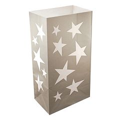 LumaBase Luminarias 24 pc Silver Stars Bags