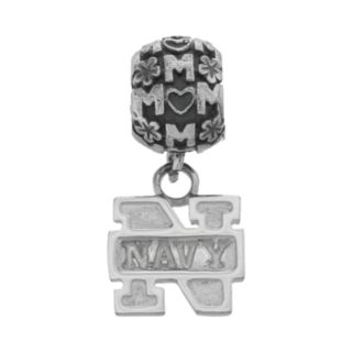 "Dayna U Sterling Silver Navy Midshipmen Team Logo ""Mom"" Charm"