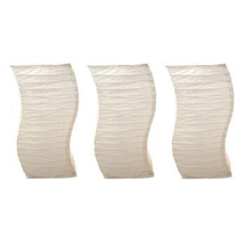 LumaBase Luminarias 3-Piece White Twisted Paper Lanterns