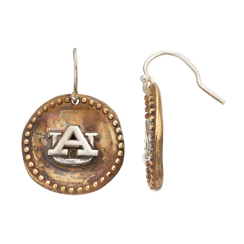 Dayna U Sterling Silver Auburn Tigers Antiqued Coin Earrings, Women's, Grey