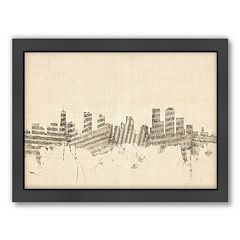 Americanflat ''Denver, Colorado Music Cityscape'' Framed Wall Art