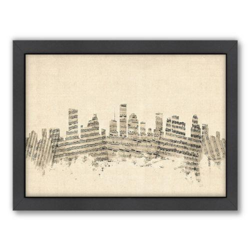 Americanflat ''Houston, Texas Music Cityscape'' Framed Wall Art