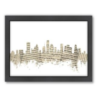 Americanflat ''Houston, Texas Music Cityscape'' Framed Wall Art