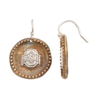 Dayna U Sterling Silver Ohio State Buckeyes Antiqued Coin Earrings